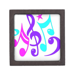Colorful Musical Notes Jewelry Box