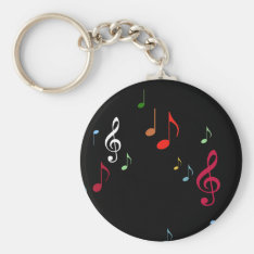 Colorful Musical Notes Keychain at Zazzle