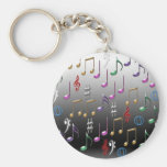 Colorful musical notes on grey background basic round button keychain