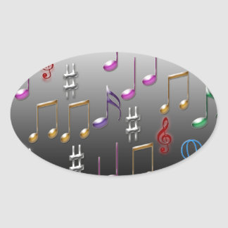 Colorful musical notes on grey background oval sticker