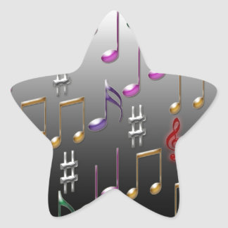 Colorful musical notes on grey background star sticker