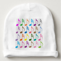 Colorful musical notes pattern baby beanie