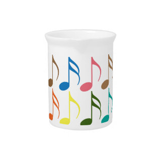 Colorful musical notes pattern drink pitcher