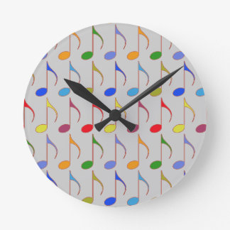colorful musical notes pattern round clock