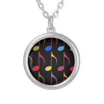 colorful musical notes pattern silver plated necklace