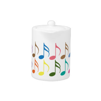 Colorful musical notes pattern teapot