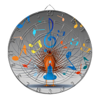 Colorful Musical Notes Peacock Dartboards