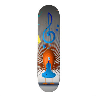Colorful Musical Notes Peacock Skateboard Deck