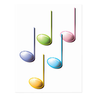 Colorful Musical Notes Postcard