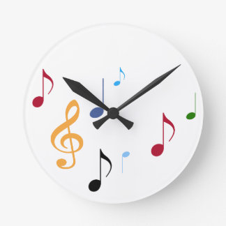 colorful musical notes round clock