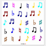 [ Thumbnail: Colorful Musical Notes & Symbols Sticker ]