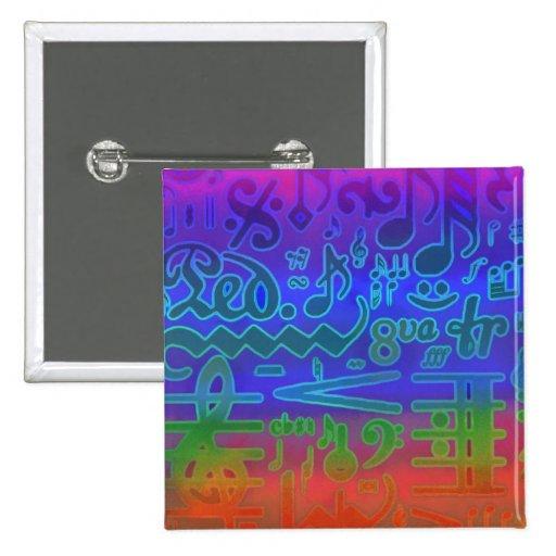 Colorful Musical Symbols Pin