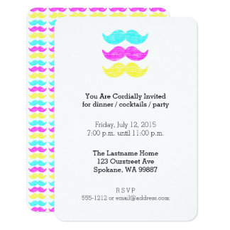 Colorful Mustaches (letterpress CMY) Card