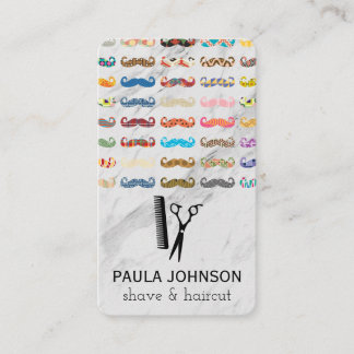Colorful Mustaches Pattern Business Card