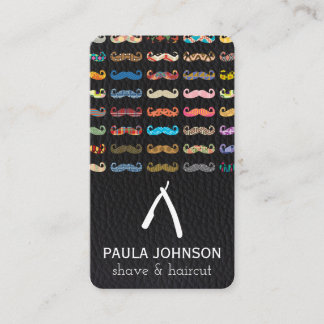 Colorful Mustaches Pattern Leather Pattern Business Card