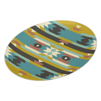 Colorful Muted Tones Geometric Tribal Pattern Dinner Plate