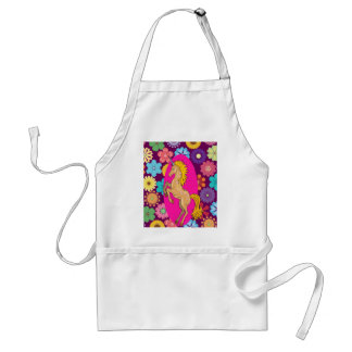 Colorful Mystical Unicorn on Pink Purple Flowers Apron