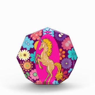 Colorful Mystical Unicorn on Pink Purple Flowers Award