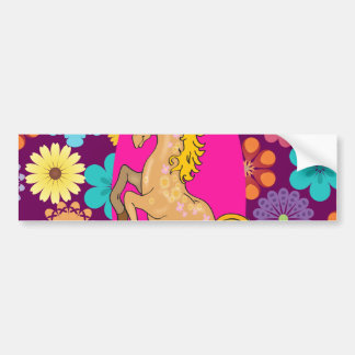 Colorful Mystical Unicorn on Pink Purple Flowers Bumper Sticker