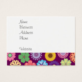 Colorful Mystical Unicorn on Pink Purple Flowers Business Card