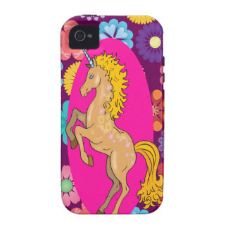 Colorful Mystical Unicorn on Pink Purple Flowers Case-Mate iPhone 4 Case