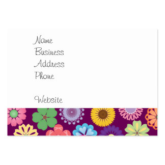 Colorful Mystical Unicorn on Pink Purple Flowers Large Business Card
