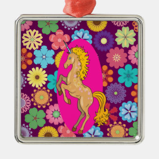 Colorful Mystical Unicorn on Pink Purple Flowers Metal Ornament