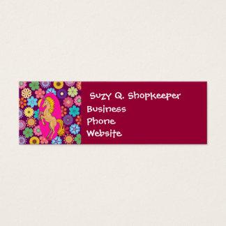 Colorful Mystical Unicorn on Pink Purple Flowers Mini Business Card