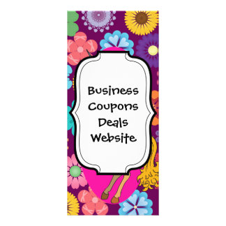 Colorful Mystical Unicorn on Pink Purple Flowers Personalized Rack Card