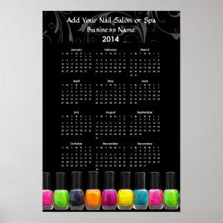 Colorful Nail Polish Bottles 2014 Calendar Poster