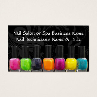 Colorful Nail Polish Bottles, Nail Salon Business Card