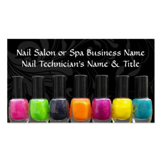 Colorful Nail Polish Bottles, Nail Salon Double-Sided Standard Business Cards (Pack Of 100)
