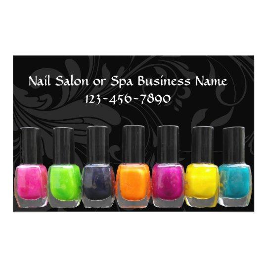 Colorful Nail Polish Bottles, Nail Salon Flyer