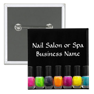 Colorful Nail Polish Bottles, Nail Salon Pinback Button