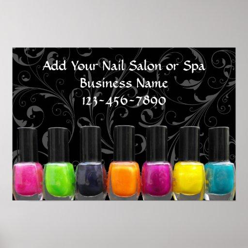 Colorful Nail Polish Bottles, Nail Salon Sign Print