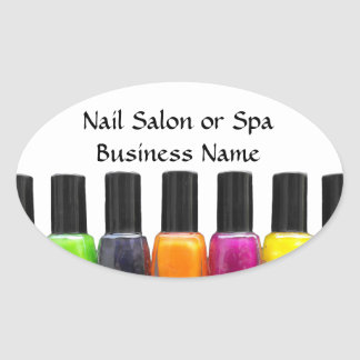 Colorful Nail Polish Bottles, Nail Salon Oval Sticker
