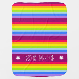 Colorful name rainbow stripes mauve baby blanket