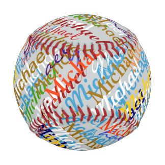 colorful names pattern personalized baseball