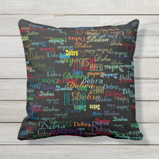 colorful names, typography style & personalized outdoor pillow