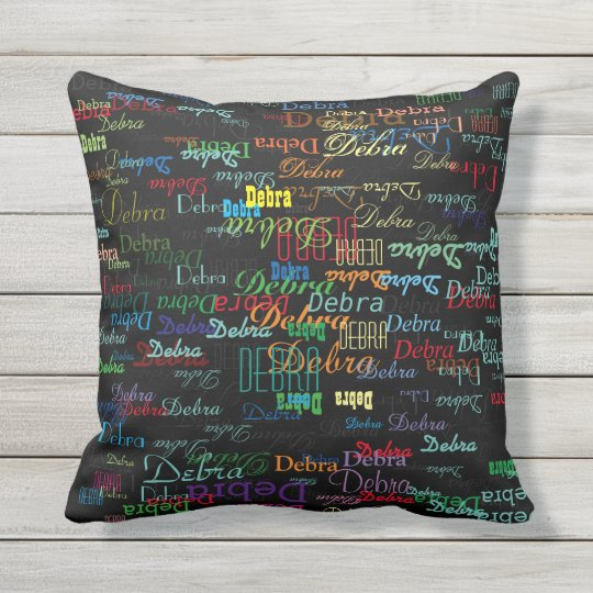 Colorful Names Typography Style Personalized Outdoor Pillow