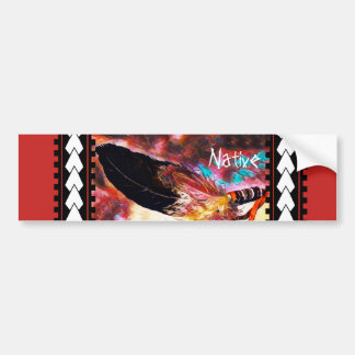 Colorful Native American Eagle Feather Bumper Sticker