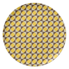 Colorful Native American Gold Brown Tribal Print Plates
