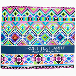 Colorful Native Aztec Tribal 3 Ring Binder
