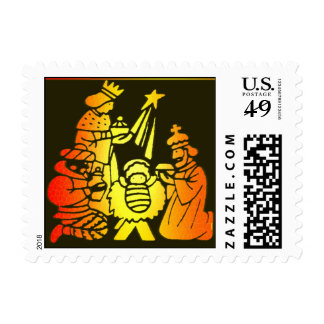 Colorful Nativity Postage Stamp