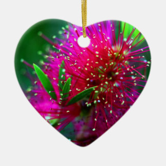 Colorful Nature Floral Hot Pink Neon Green Flowers Ceramic Ornament