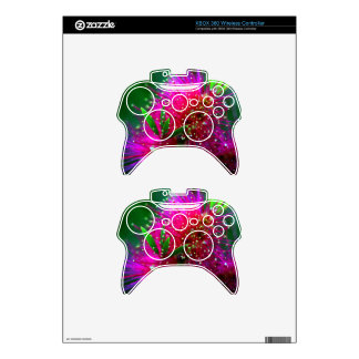 Colorful Nature Floral Hot Pink Neon Green Flowers Xbox 360 Controller Decal