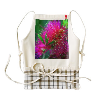 Colorful Nature Floral Hot Pink Neon Green Flowers Zazzle HEART Apron