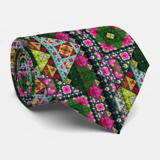 Colorful Nature Fractal Pattern Tie