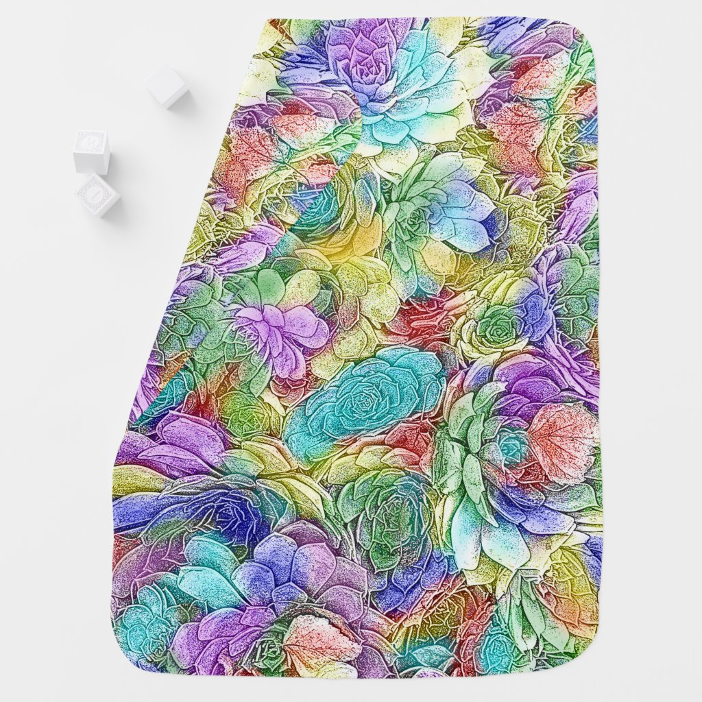 Colorful Nature Hens and Chicks Succulent Plants Swaddle Blanket
