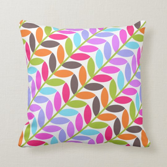 Colorful Nature Leaf Design Pattern Throw Pillow
